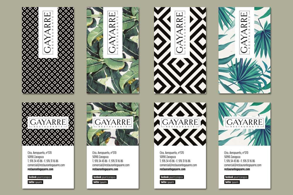 branding tarjetas de visita restaurante hostelería SinPalabras