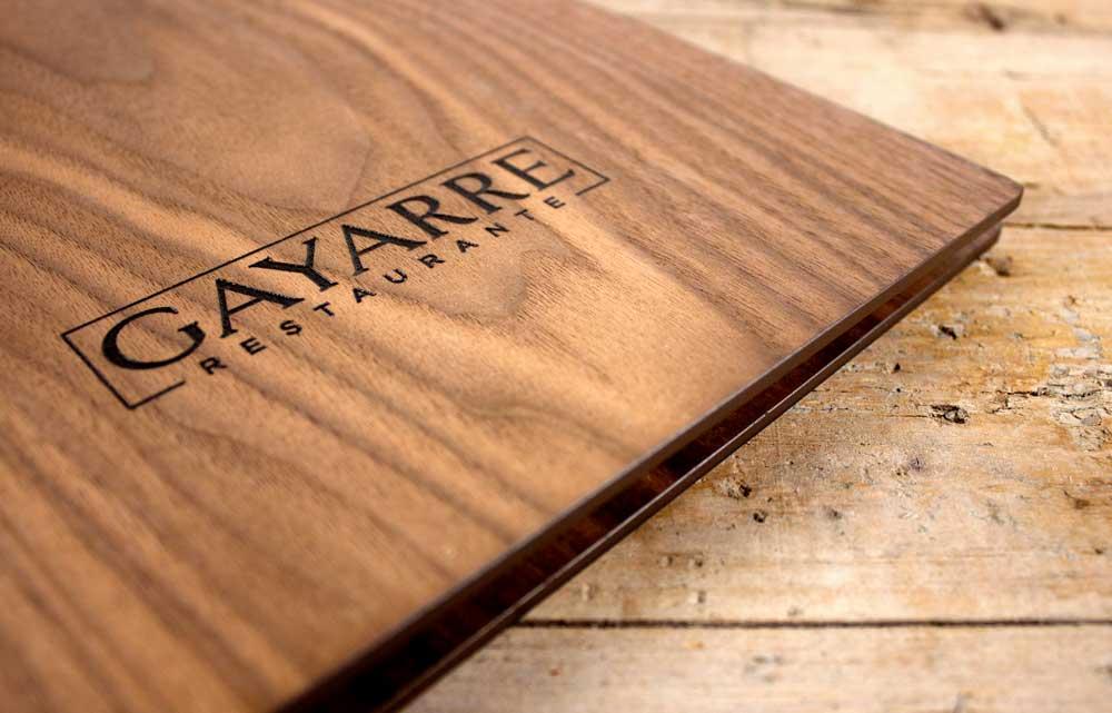 diseño carta madera restaurante SinPalabras
