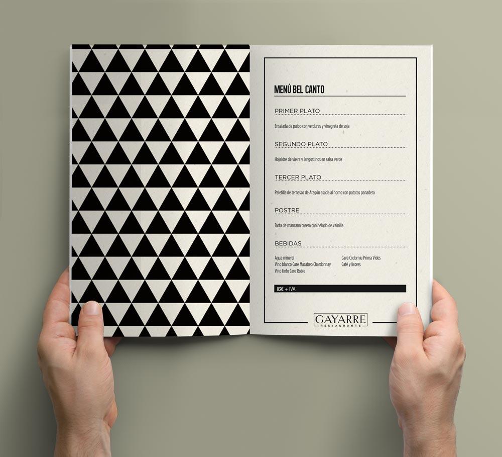 diseño carta menú restaurante SinPalabras