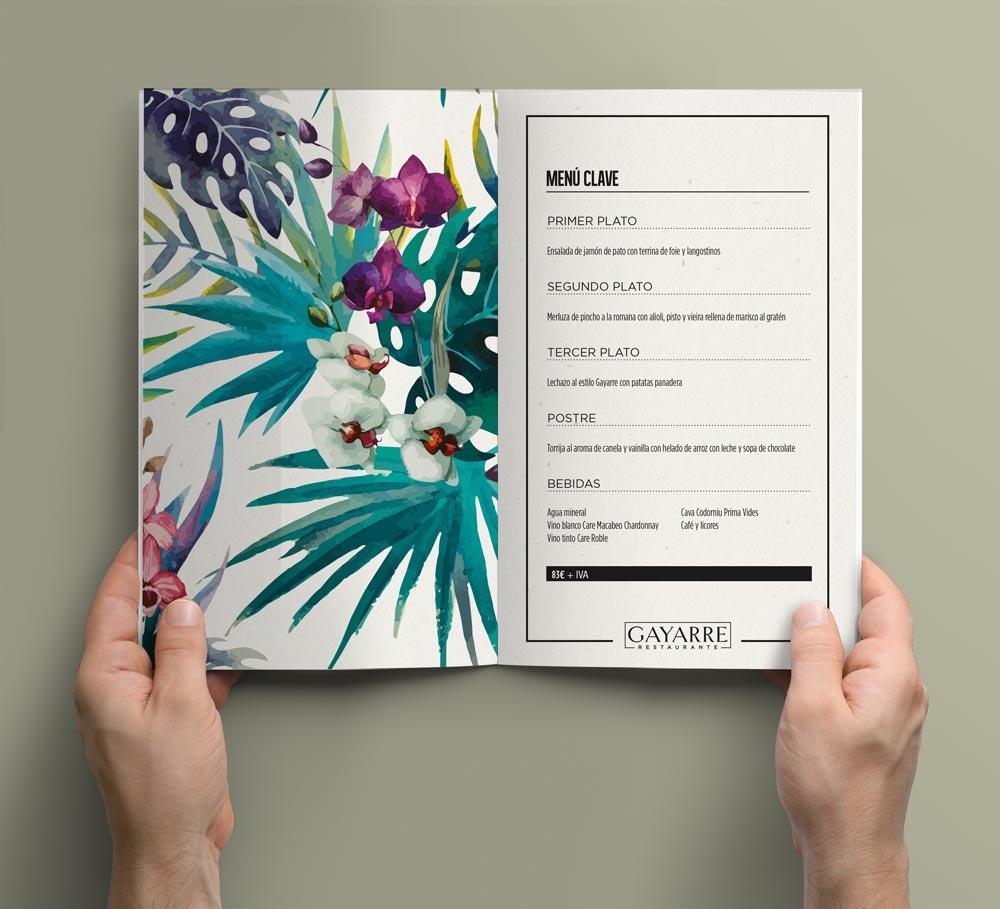 diseño carta restaurante SinPalabras